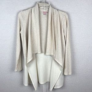 JUICY COUTURE Cream/Gold Waffle Knit Open Cardigan